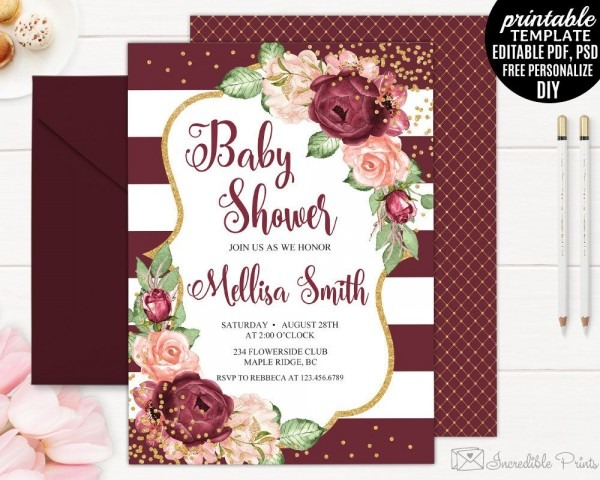 Burgundy Baby Shower Invitation Printable, Editable Red And Pink