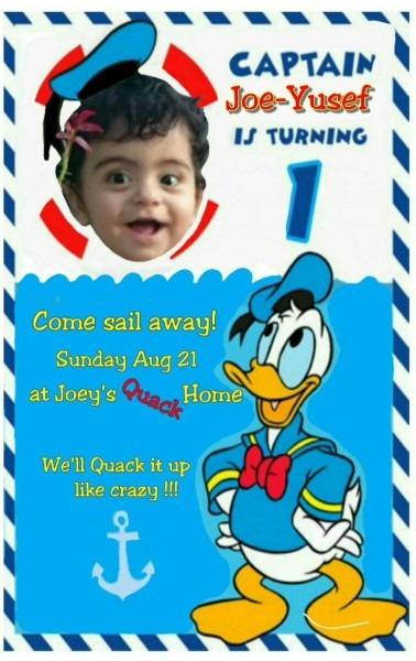 Donald Duck Invitation Card