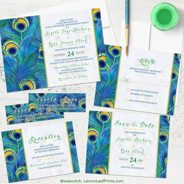 Watercolor Painted Peacock Feather Wedding Invitation Set  A Great