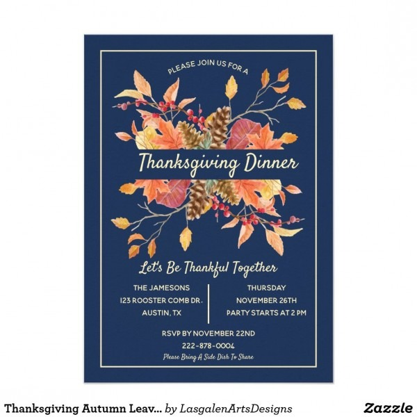 Thanksgiving Autumn Leaves Custom Dinner Party Invitation