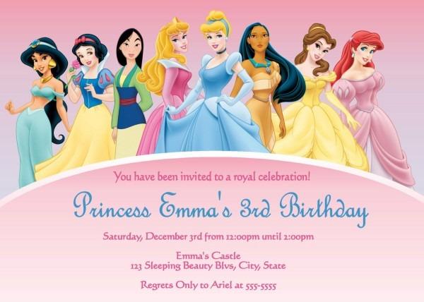 D Cool Disney Princess Birthday Invitations