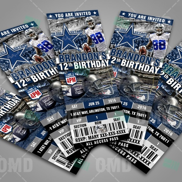 Dallas Cowboys Ticket Style Sports Party Invitations – Sports Invites