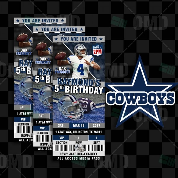 Dallas Cowboys Invites Ticket Style Sports Party – Sports Invites