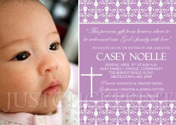 Damask Baptism Christening Dedication Photo Invitation Pink Purple