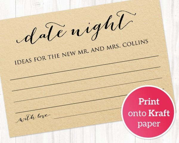 Date Night Ideas Card Template, Bridal Shower Game · Wedding