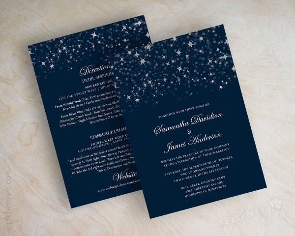 Starry Night Wedding Invitation Twinkling Starry Night