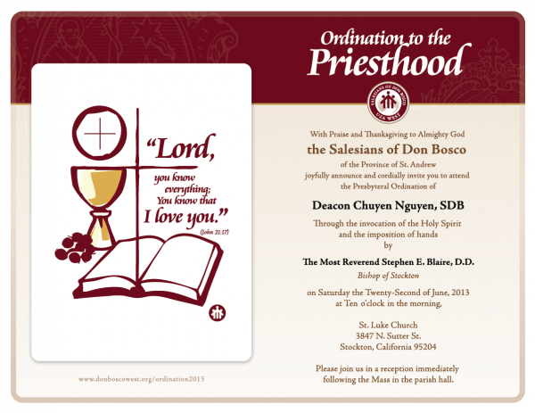 Sample Ordination Invitations Free Templates