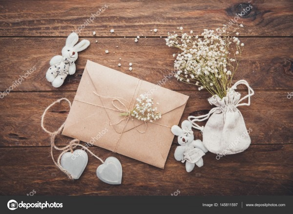 Wedding Invitation  Craft Envelope With Decorations — Stock Photo