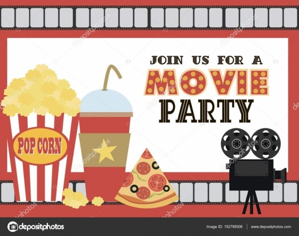 Movie Birthday Party Invitation Card — Stock Vector © Vissay