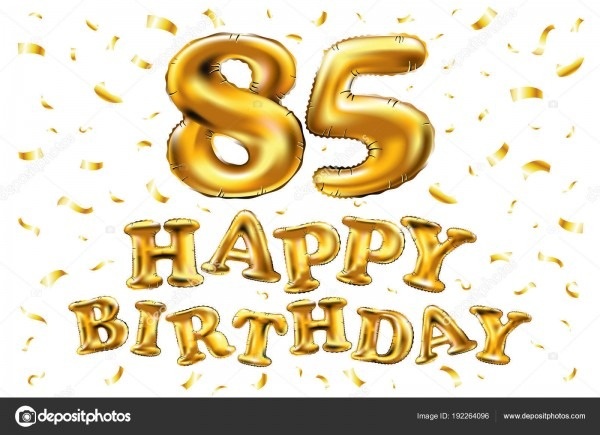 Vector Happy Birthday 85th Celebration Gold Balloons And Golden