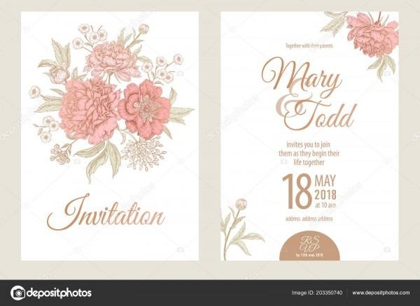 Templates Wedding Invitations Cards Decoration Garden Flowers