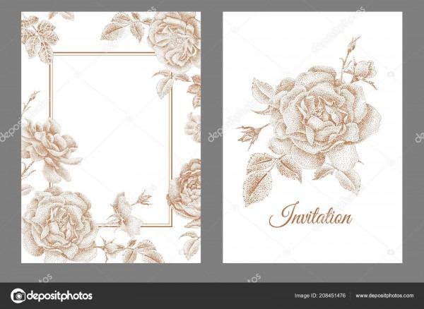 Wedding Invitations Cards Templates Set Decoration Garden Flowers