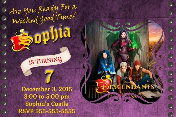 Disney's Descendants Birthday Party Invite And 50 Similar Items