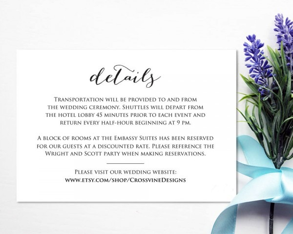 Wedding Details Card Insert · Wedding Templates And Printables