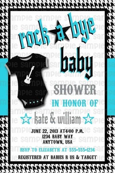 Rockabilly Rock N Roll Rock A Bye Baby Shower Invitation