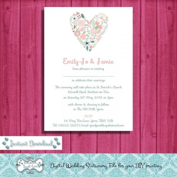 Digital Diy Editable Wedding Invitation, Printable, Microsoft Word