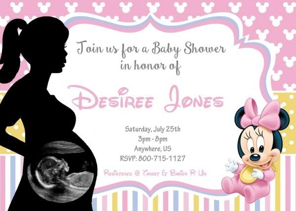 Disney Baby Shower Invitations Ultrasound Minnie