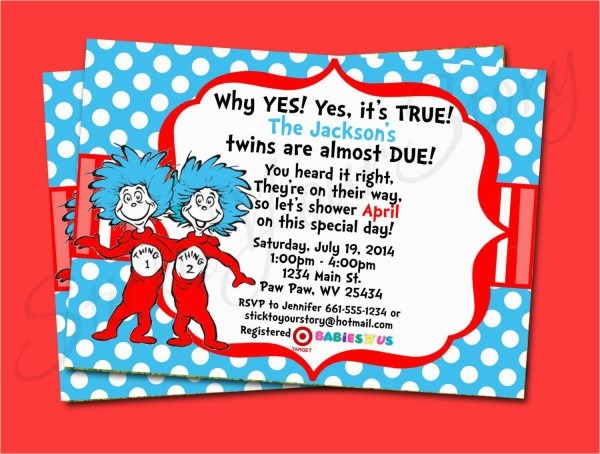 Dr Seuss Twin Birthday Invitations