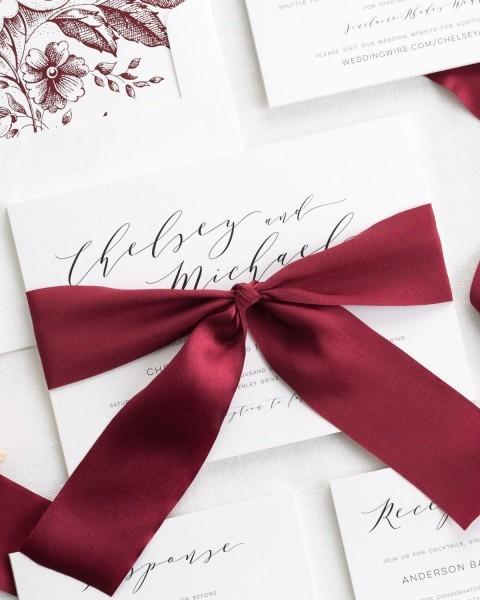 Dramatic Romance Ribbon Wedding Invitations