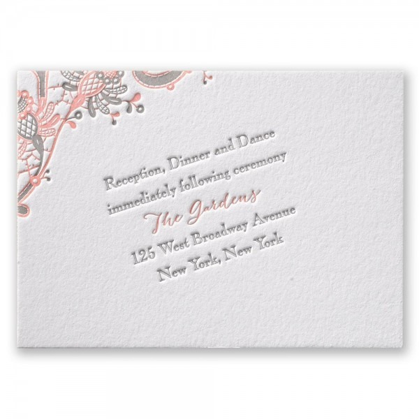 Love And Lace Letterpress Reception Card