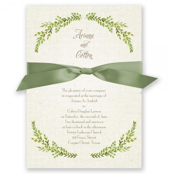 Burlap And Leaves Invitation