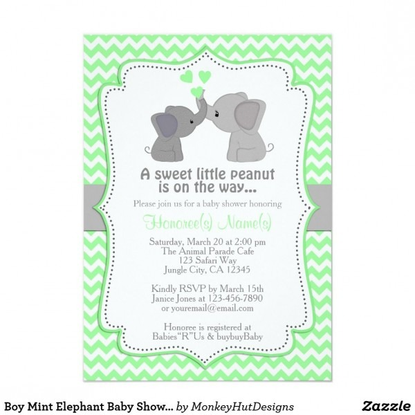 Boy Mint Elephant Baby Shower Invitations Chev 362 An Adorable