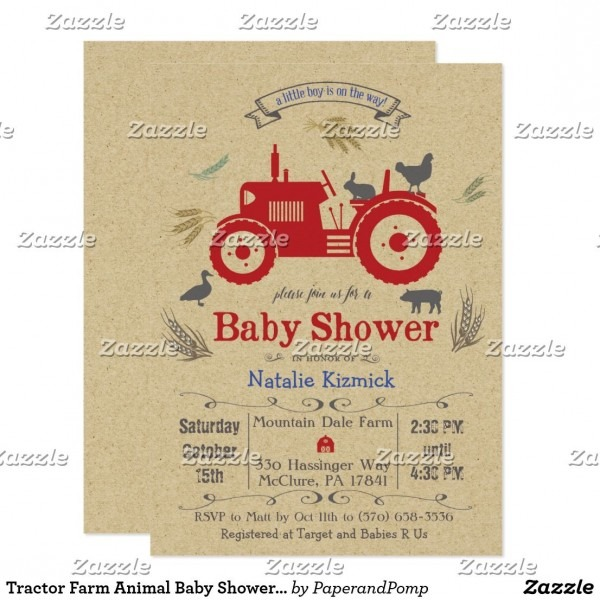 Tractor Farm Animal Baby Shower Invitation Fun Baby Shower Invites