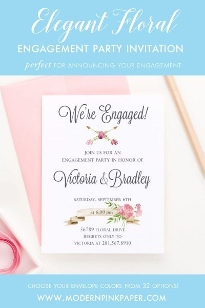 Floral Engagement Party Invitations, Modern Engagement Party