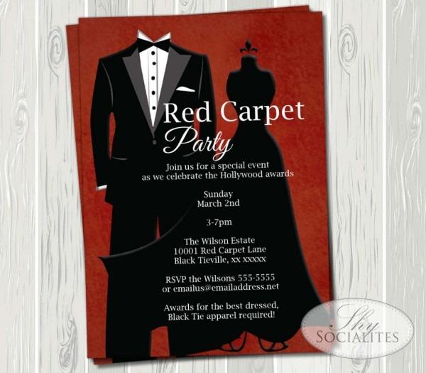 Black Tie Red Carpet Party Invitation