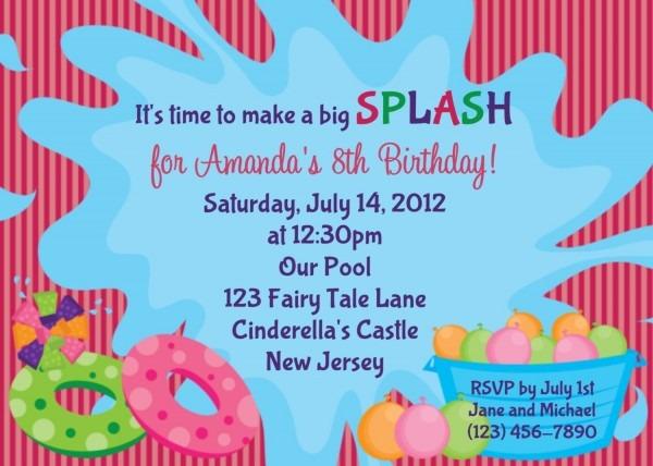 Summer Pool Party Birthday Invitations