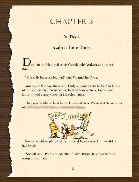 Winnie The Pooh Birthday Invitation  Ripped Story Book Page Filled