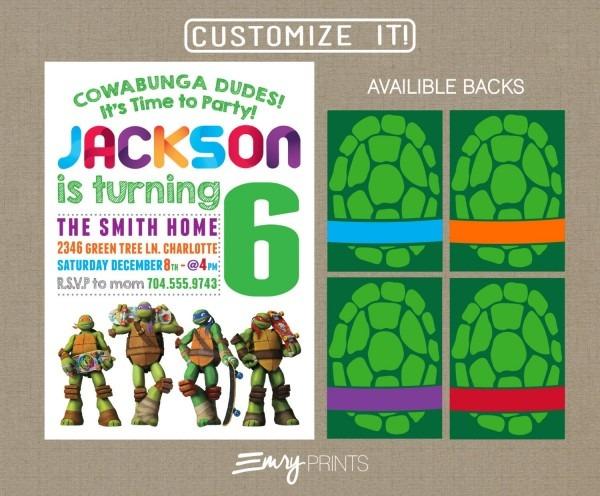 Teenage Mutant Ninja Turtles Birthday Invitation Digital Printable
