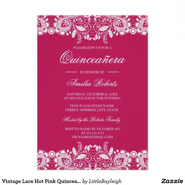 Vintage Lace Hot Pink Quinceanera Invitation More Pretty Lace