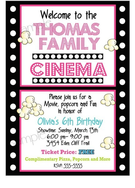 Movie Night Invitations, Movie Night Birthday Party, Sleepeover
