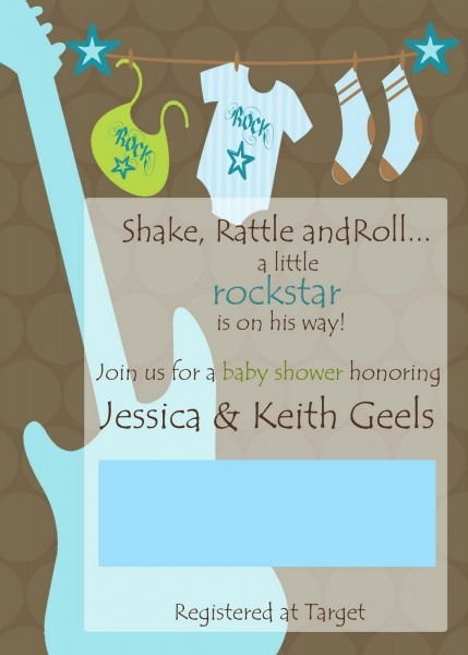Rock And Roll Baby Shower Invitations
