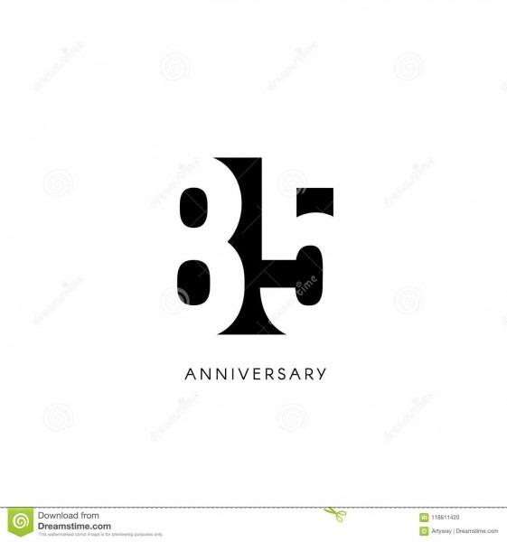 Eighty Five Anniversary, Minimalistic Logo  Eighty
