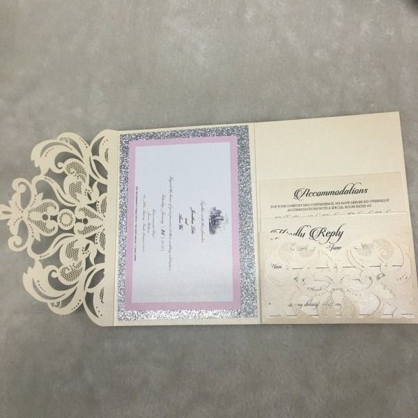 Elegant Pocket Laser Cut Lace Wedding Invitation Card Design