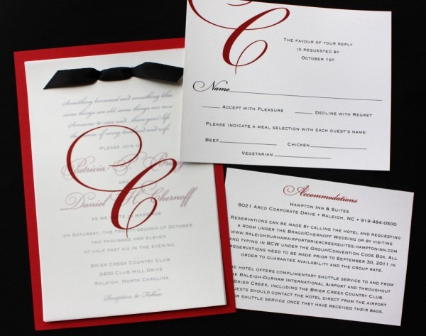 Elegant Wedding Invitations And Stationery Formal Red Black White