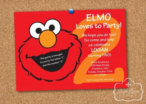 Party Invitation Template Elmo Birthday Party Invitations Custom