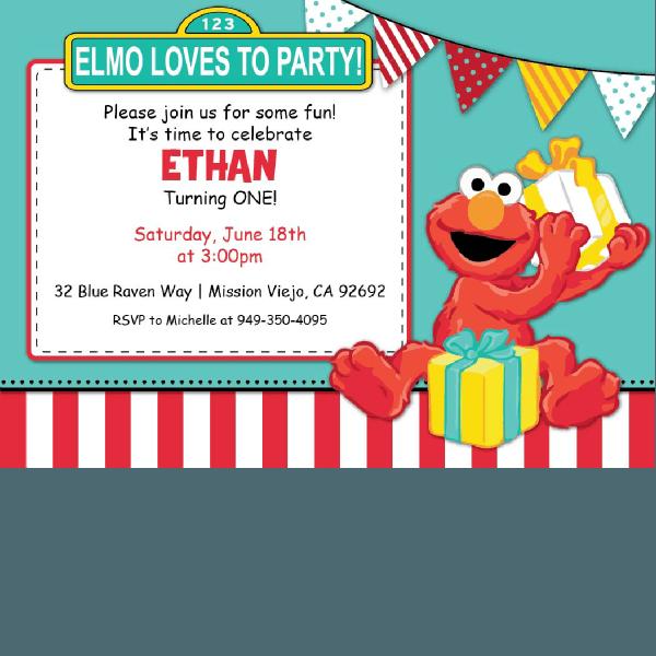 Elmo Birthday Invitations – Blackline