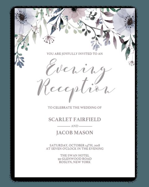 Floral Wedding Evening Reception Invite Template