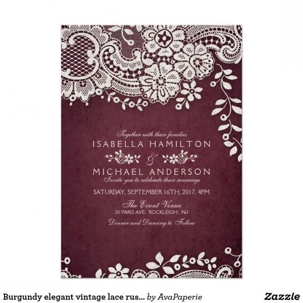 Burgundy Elegant Vintage Lace Rustic Wedding Card Vintage Floral