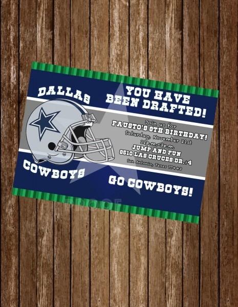 Custom Digital Dallas Cowboys Birthday Party Invitation By