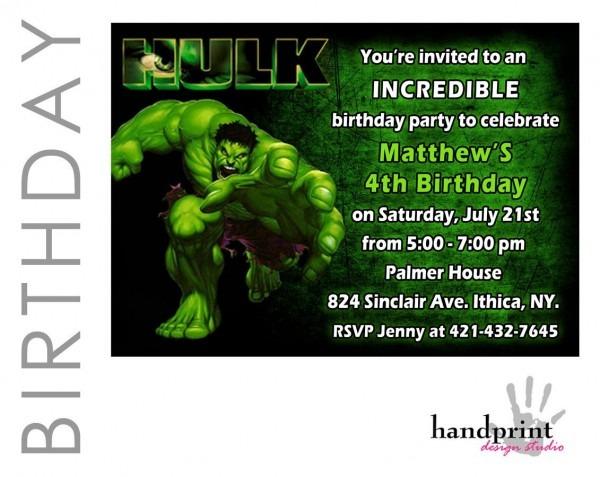 Hulk Invitation, Hulk Birthday, Incredible Hulk Birthday Invites