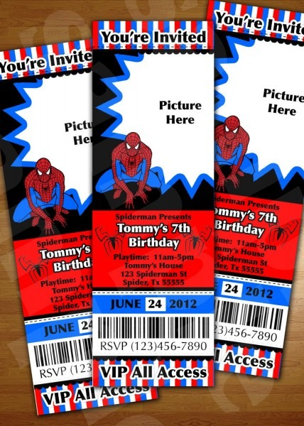 Spiderman Ticket Invitation Birthday Party Personalized Digital