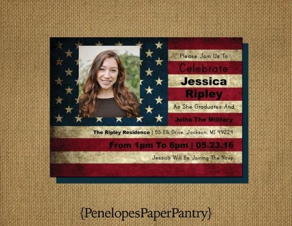 Military Going Away,grad Invitation,graduation Announcement,flag
