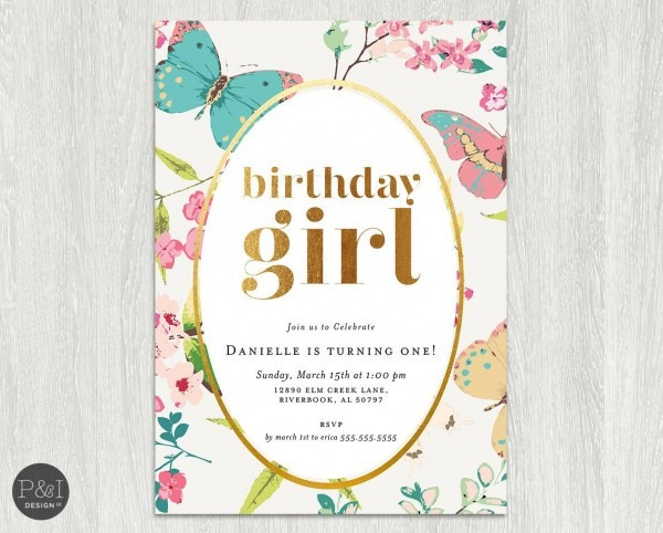Gold Foil Baby Girl Butterfly Garden Themed Birthday Party