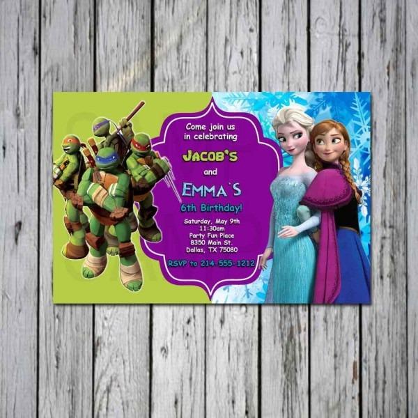 Frozen And Teenage Mutant Ninja Turtle Tmnt Birthday Custom