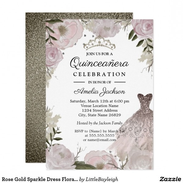 Rose Gold Sparkle Dress Floral Quinceanera Invitation