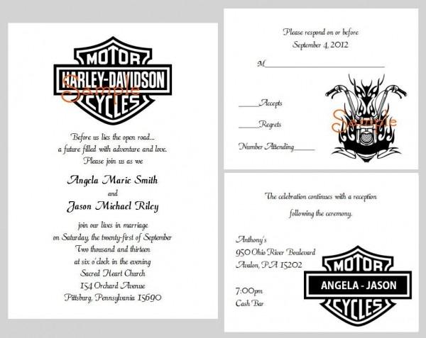 Harley Davidson Wedding Invitations And Templates